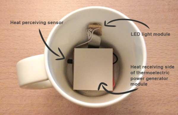 智能杯Smart Mug内置温差发电机,能持续显示温度