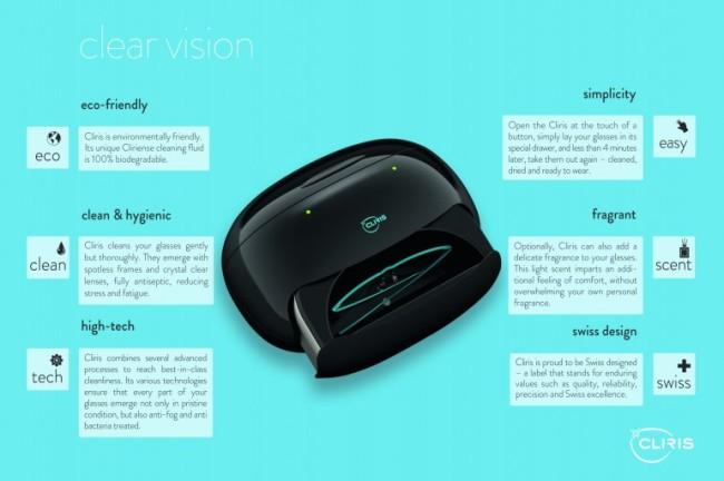 Cliris智能眼镜清洗器能瞬间搞定清洗、消毒、防雾处理、烘干