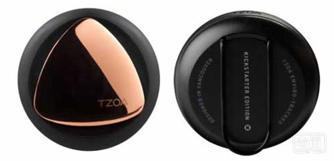 TZOA可穿戴式环境检测器可以检测空气质量,紫外线,湿度等指标