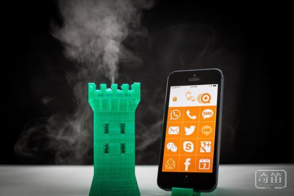 iScent烟雾器可把来电信息或者是系统提醒转化为烟雾信号