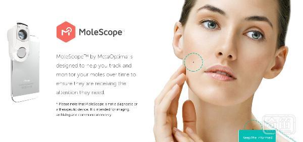 MoleScope智能镜头能完成皮肤癌的自我检测