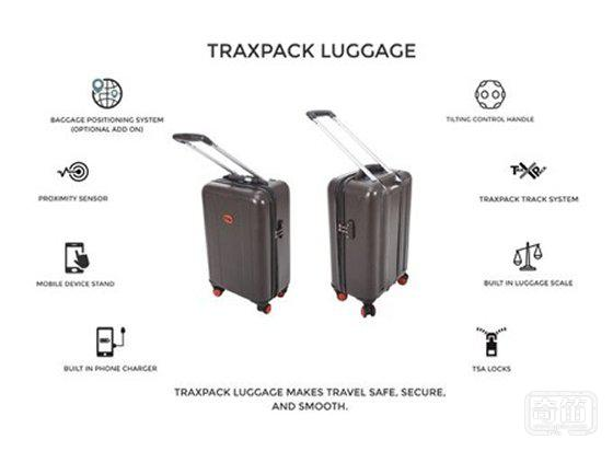 解决上下楼问题的行李箱TraxPack  拖行、定位、测重都不是事